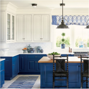 kitchen-design-in-atlanta-georgia-cobalt-blue-base-cabinets-ivory-top-cabinets-butcher-block-island